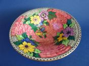 Maling Rose Pink Lustre 'Honeycomb and Daisy' Flared Bowl c1936